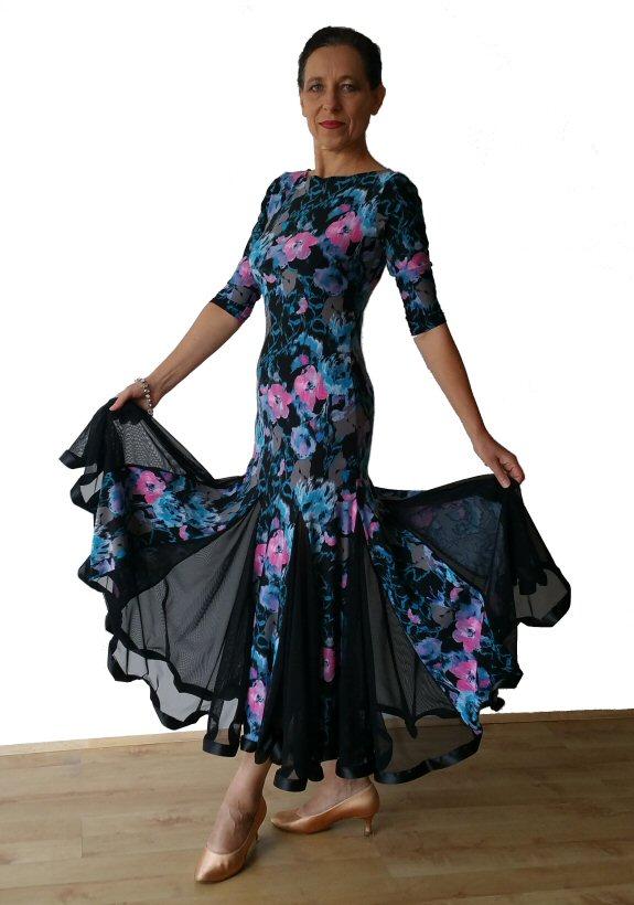 8388baf75d1 Floral print Ballroom dress with black net godets ...