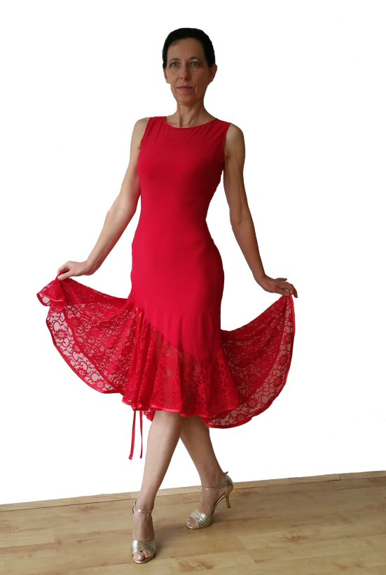 a5389c3986 Open back red lace milonga argentine tango dress ...