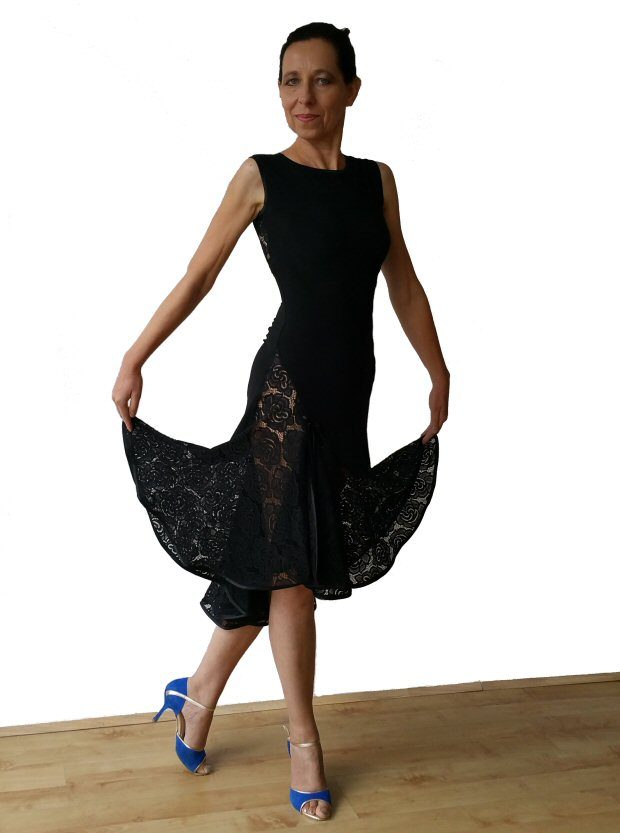 08c0d607fc Open back black lace milonga argentine tango dress ...