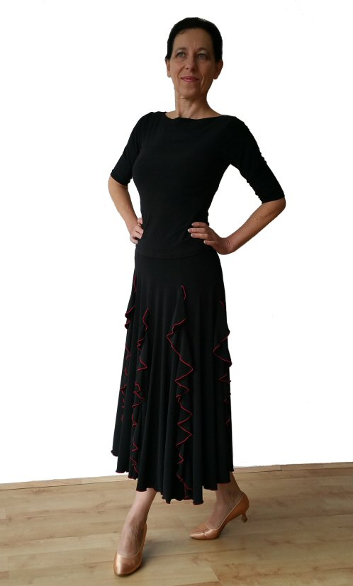 3cea85c0f88 Black Red Ballroom skirt with vertical frills. Black Red